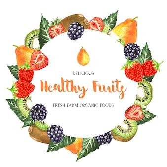 Quadro de frutas em aquarela