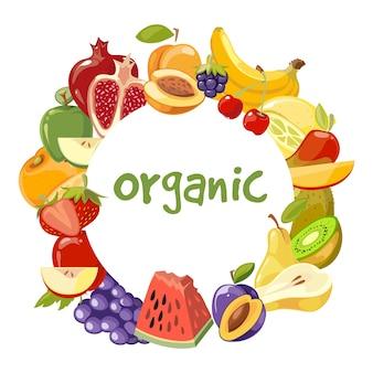 Quadro de frutas orgânicas de vetor isolado