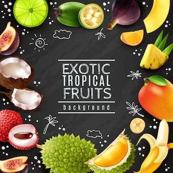 Quadro de frutas tropicais fundo de quadro de giz