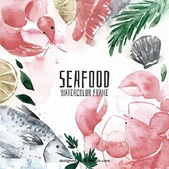 Quadro de frutos do mar em aquarela