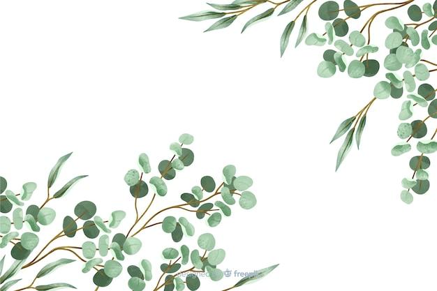 Quadro de fundo abstrato folhas pintadas