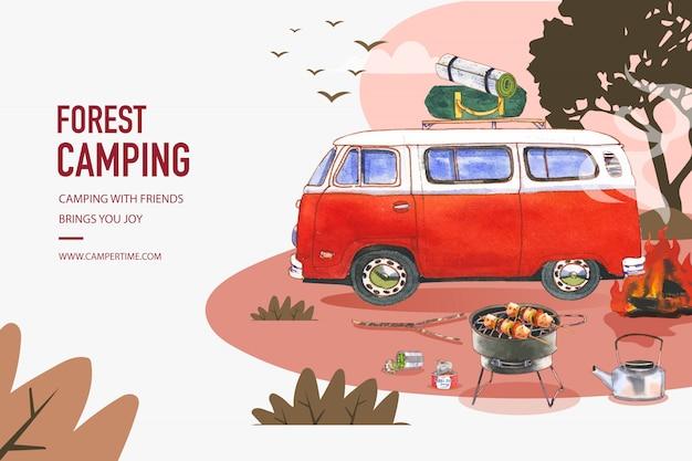Quadro de fundo camping com ilustrações de comida enlatada, tenda e chaleira.