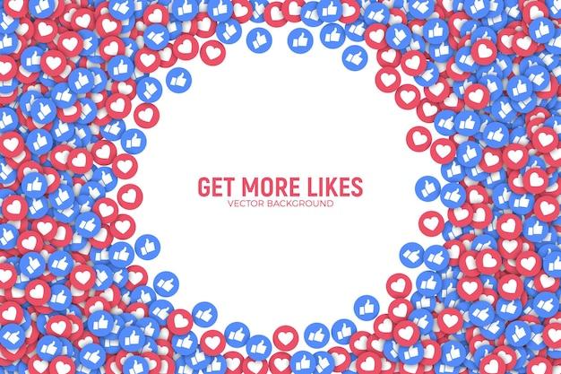 Quadro de fundo com emoji de mídia social