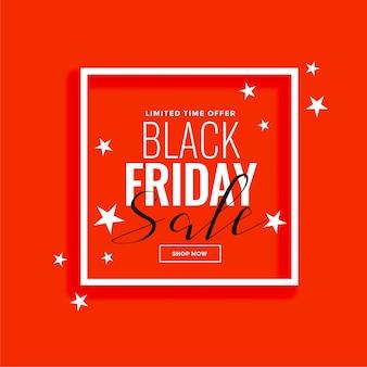 Quadro de fundo preto de venda sexta-feira com estrelas