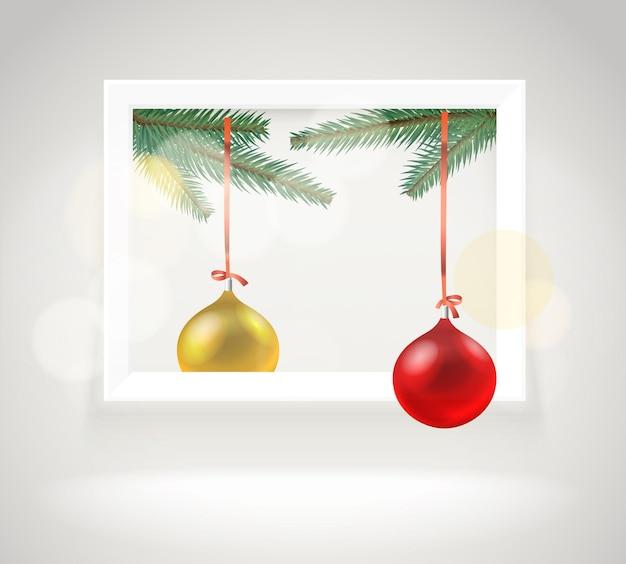 Quadro de galeria brilhante fotorrealista. layout de cartão de natal. cartão. griitings,