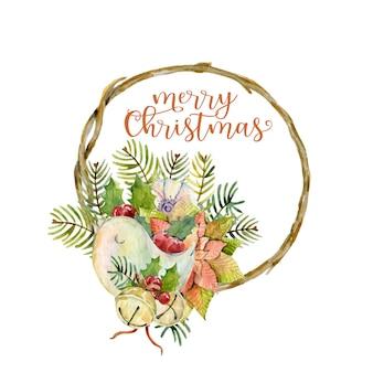 Quadro de galho de natal em aquarela com ramos de poinsétia de pássaro, bagas de azevinho e sinos de natal