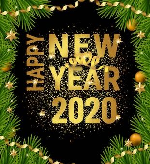 Quadro de galhos de árvore de natal feliz ano novo de 2020