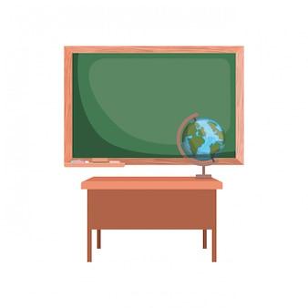 Quadro de giz da escola em sala de aula