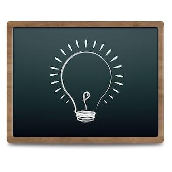 Quadro de giz preto com lâmpada desenhando ilustração de giz