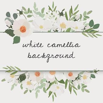 Quadro de grinalda de buquê de flores de camélia branca