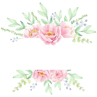 Quadro de grinalda de buquê de flores de peônia rosa