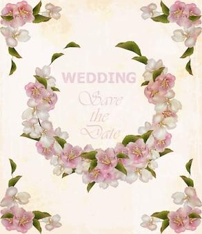 Quadro de grinalda de casamento com flores de cerejeira
