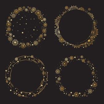 Quadro de grinalda de flocos de neve dourada de natal e ano novo