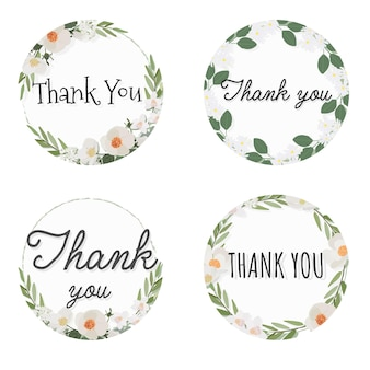 Quadro de grinalda de flor de camélia branca com texto de agradecimento, estilo simples coleção