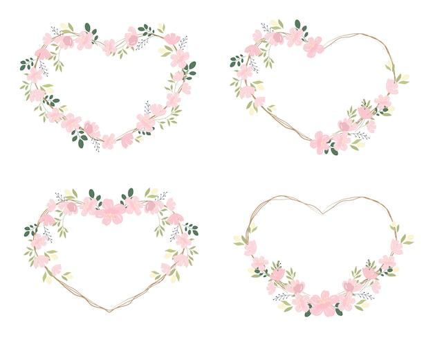 Quadro de grinalda de flor de cerejeira rosa ou sakura coração