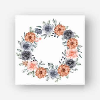 Quadro de grinalda de flores com aquarela flores marinho e pêssego