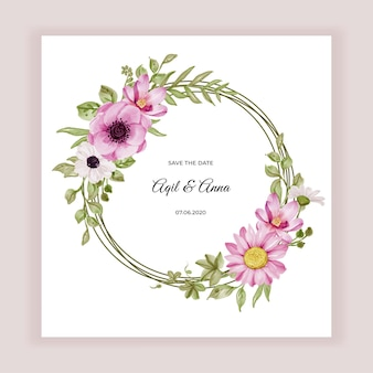Quadro de grinalda de flores com flores cor de rosa e aquarela de folhas verdes