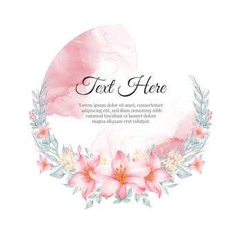 Quadro de grinalda de flores de flor lírio rosa