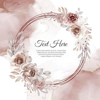 Quadro de grinalda de flores de terracota de flores