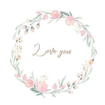 Quadro de grinalda de flores em aquarela e letras, eu te amo