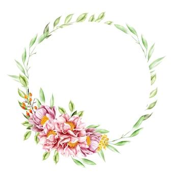 Quadro de grinalda de flores em aquarela