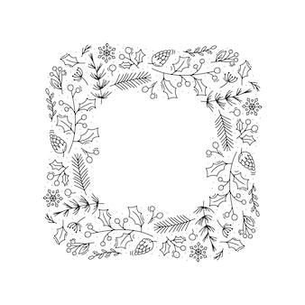 Quadro de grinalda de vetor monoline de natal com galhos de cone, flocos de neve e frutas