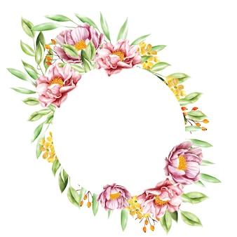 Quadro de grinalda floral aquarela