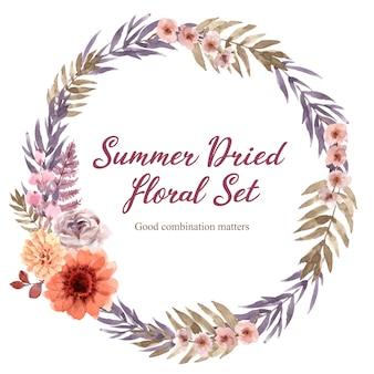 Quadro de grinalda floral seca em aquarela