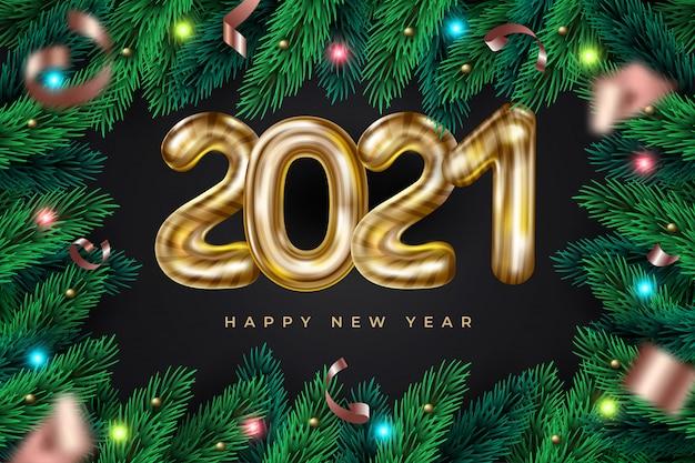 Quadro de grinalda realista feliz ano novo 2021 com festão. fundo festivo com galhos de pinheiro Vetor Premium