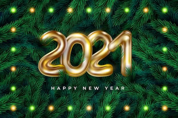 Quadro de grinalda realista feliz ano novo 2021 com guirlanda Vetor Premium