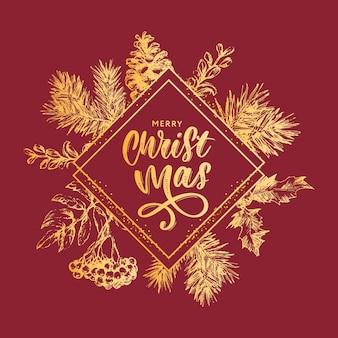 Quadro de guirlanda de natal com galhos de árvore de natal e azevinho para decoração festiva, anúncios, cartões postais, convites, cartazes.