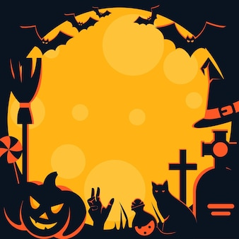 Quadro de halloween assustador com caracteres tradicionais