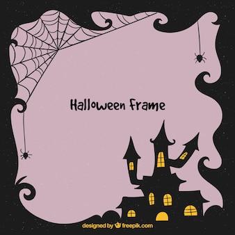 Quadro de halloween com casa assustadora
