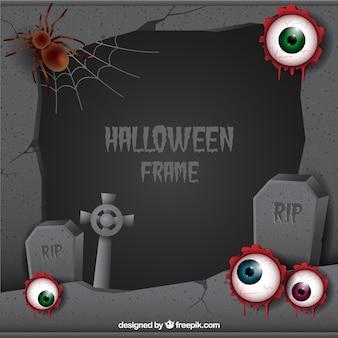 Quadro de halloween com cemitério e olhos