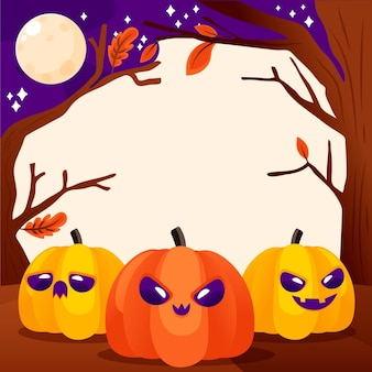 Quadro de halloween desenhado com abóboras