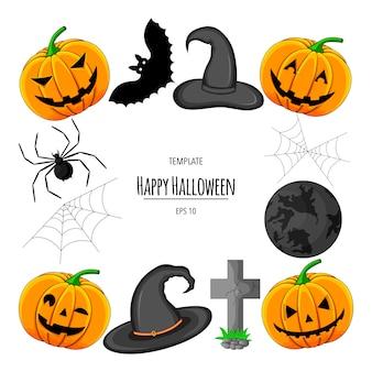 Quadro de halloween para o seu texto com atributos tradicionais. estilo de desenho animado. ilustração.