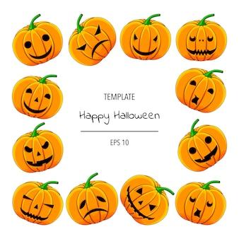 Quadro de halloween para o seu texto com atributos tradicionais. estilo de desenho animado. ilustração. Vetor Premium