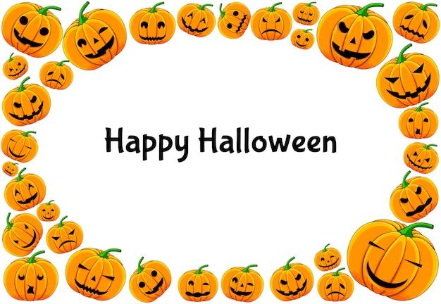 Quadro de halloween para o seu texto com atributos tradicionais. estilo de desenho animado.