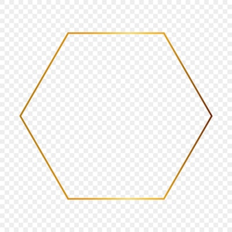 Quadro de hexágono brilhante ouro isolado em fundo transparente. moldura brilhante com efeitos brilhantes. ilustração vetorial.