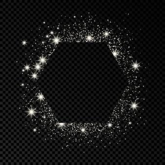 Quadro de hexágono com glitter prata em fundo escuro e transparente. fundo vazio. ilustração vetorial.