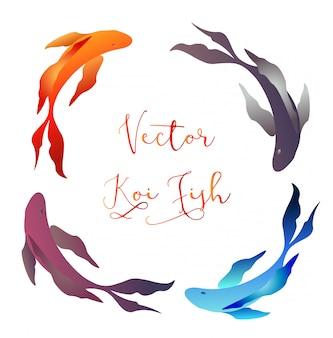 Quadro de ícone de peixe koi