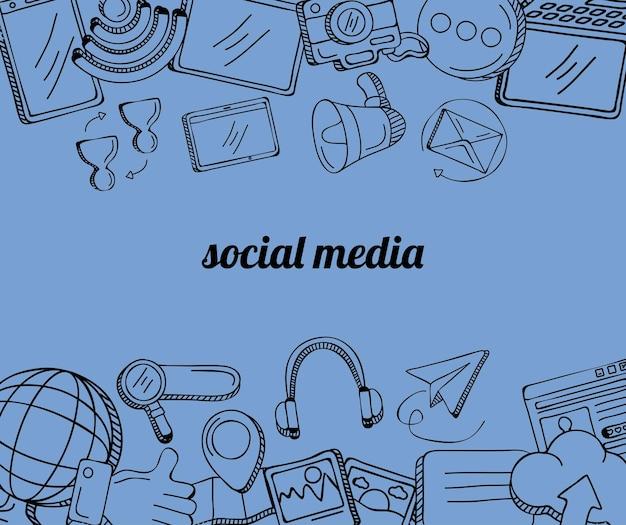 Quadro de ícones de conjunto de mídia social