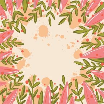 Quadro de ilustração com folhas verdes e rosa