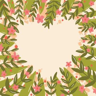 Quadro de ilustração com folhas verdes e rosa Vetor Premium