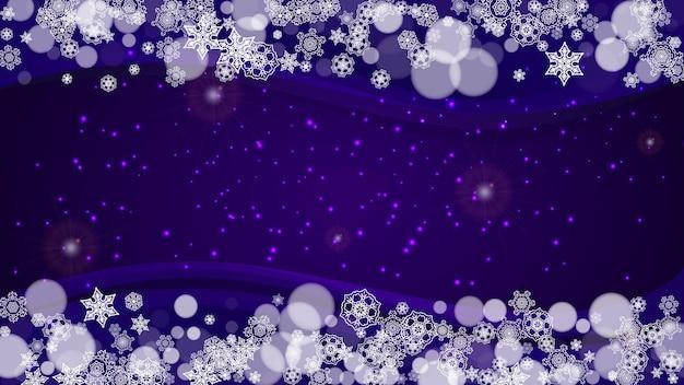 Quadro de inverno com flocos de neve ultravioleta. cenário de ano novo. borda de neve para panfleto, cartão-presente, convite para festa, oferta de varejo e anúncio. fundo na moda de natal. banner gelado de férias com moldura de inverno