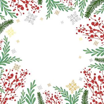 Quadro de inverno com rowan, galhos de árvores do abeto e flocos de neve cartum fundo.