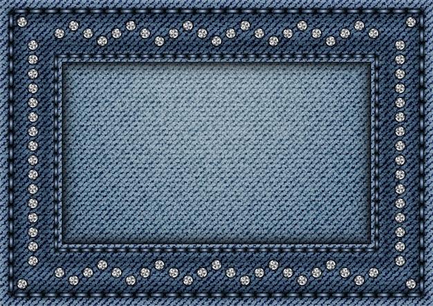 Quadro de jeans com ornamentos de lantejoulas