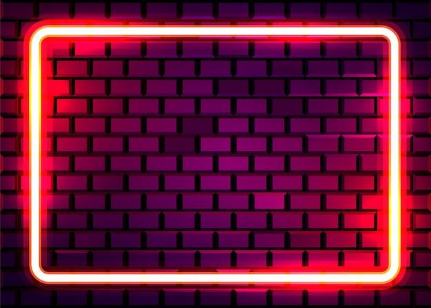 Quadro de lâmpada de néon na parede de tijolo. conceito.