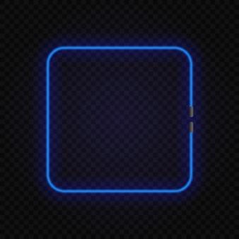 Quadro de lâmpada de néon quadrado brilhante em transparente