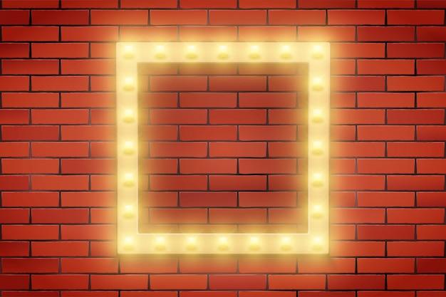 Quadro de lâmpada retro na parede de tijolos.